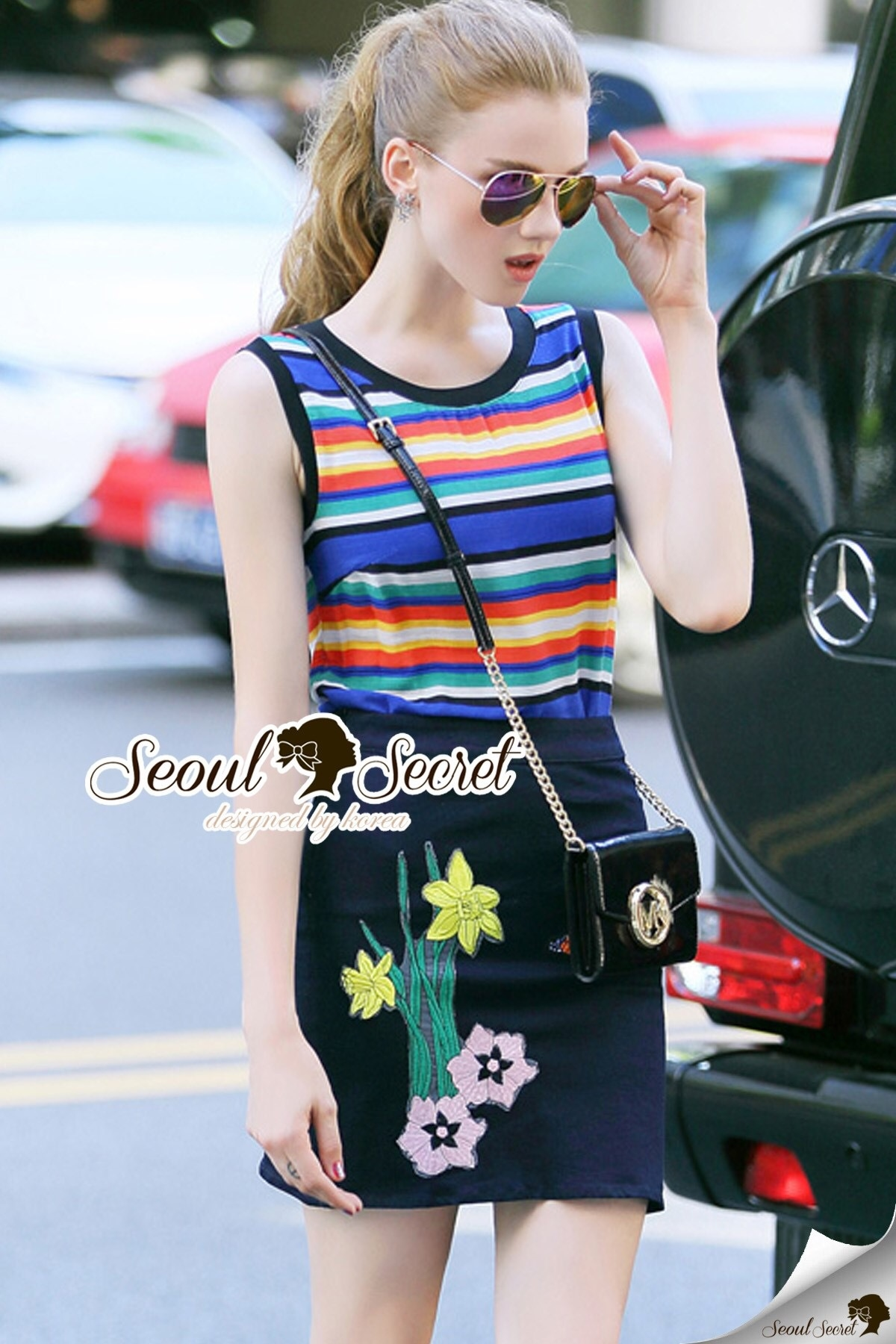 Seoul Secret Say's .... Variously Color Cami Chic Set with Bloom Stick Skirt