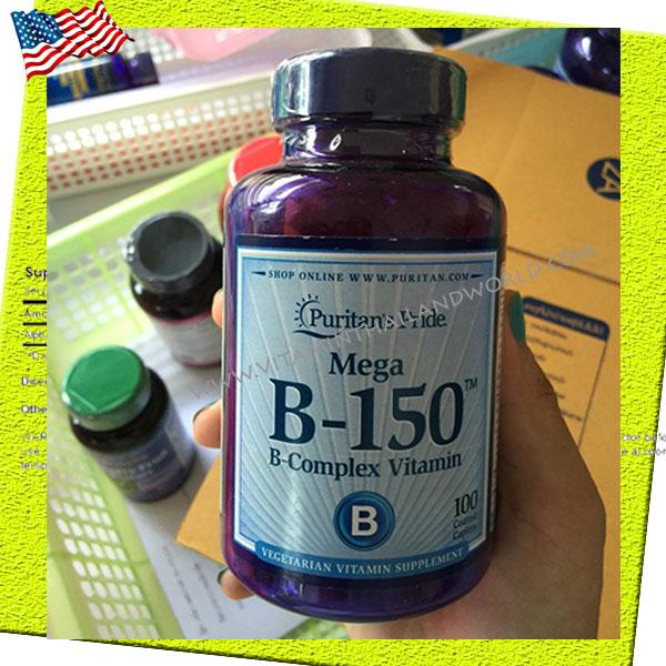 Vitamin B-150™ Complex 100 Caplets ( Puritan's Pride ) วิตามินบีรวมบำรุงร่างกาย