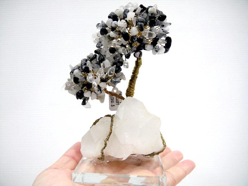 ต้นไม้มงคล ไหมดำ-แก้วขนเหล็ก (Black Rutilliated Quartz) ฐานควอตซ์ ใช้เสริมฮวงจุ้ย โต๊ะทำงาน (543g)