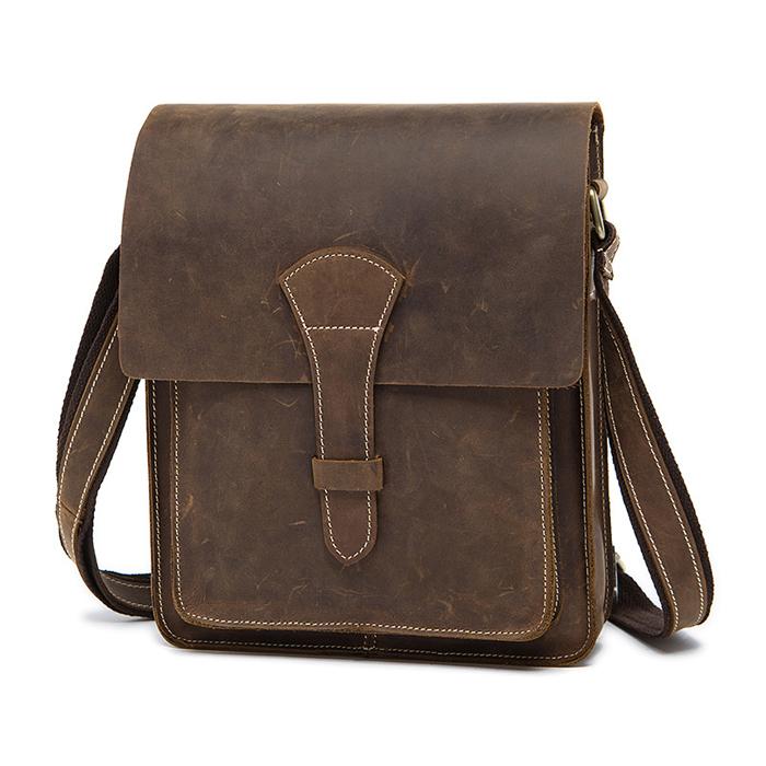 OP-1093 กระเป๋าสะพายข้างผู้ชาย หนังนูบัค สีน้ำตาล