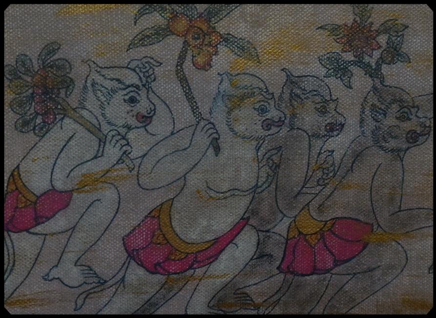 ภาพวาดสีอะคริลิค-ลิง
