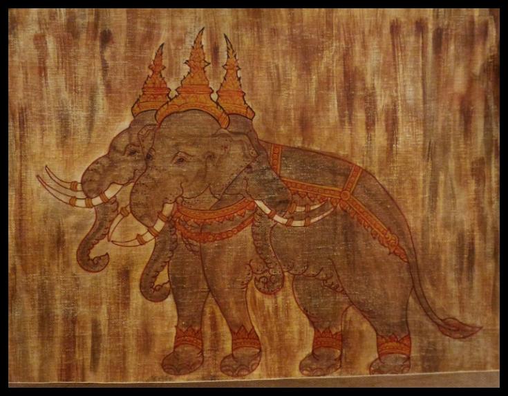 ภาพวาดช้างสามเศียรสีอะคริลิค 23 cm.x29.5 cm.