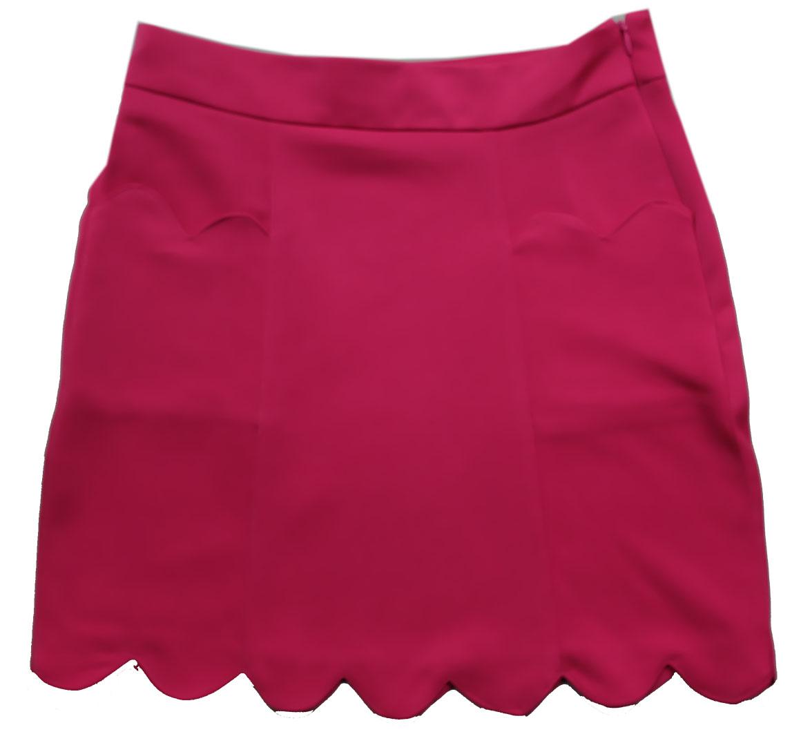 กระโปรงปลายหยักมีเป๋า ผ้าฮานาโกะ สีน้ำตาล Size S M L XL