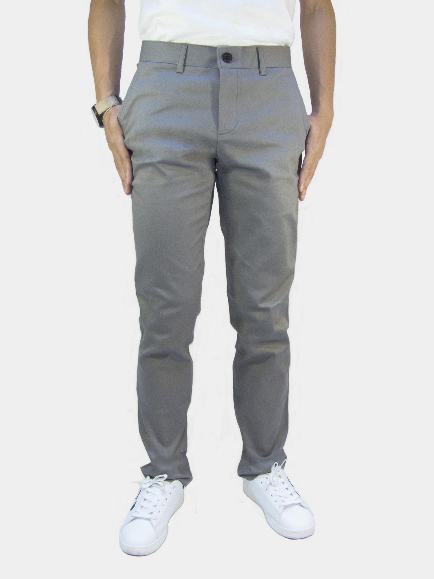 กางเกงขายาว กางเกงชิโน่ ผ้ายืด สีเทาอ่อน