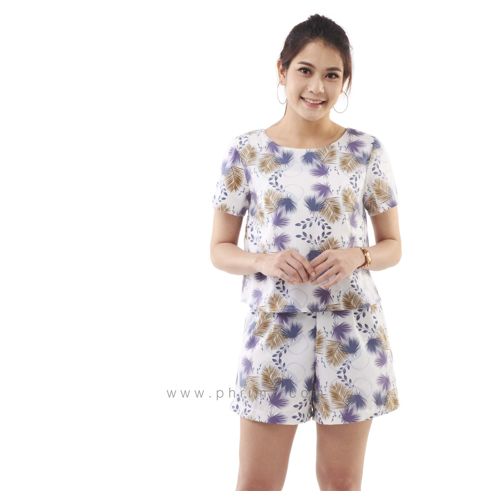 ชุดให้นม Phrimz : Nalynn Breastfeeding Top with Shorts - Purple Floral