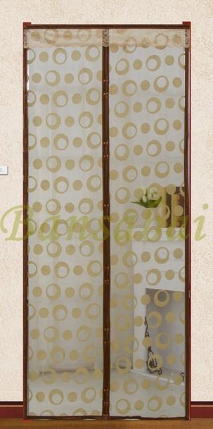ม่านประตูกันยุง Hi-end 100x210 ซม. แบบทอลายกำมะหยี่-วงกลม สีน้ำตาล
