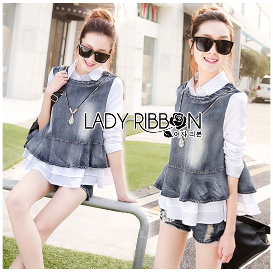Lady Ribbon Korea Dress LR12060616 &#x1F380 Lady Ribbon's Made &#x1F380 Lady Rachel Preppy Chic Cotton and Denim Shirt with Crystal Necklace