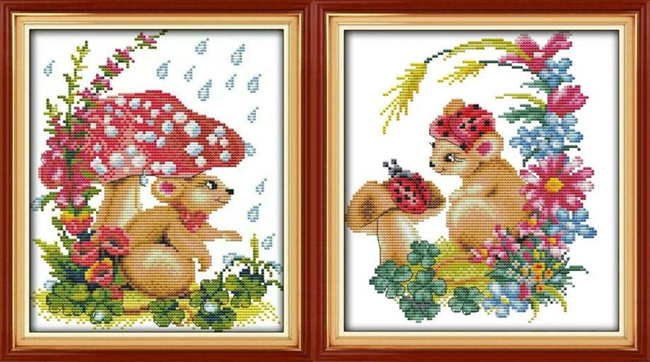 Mushroom&Mouse (คู่)(ไม่พิมพ์/พิมพ์ลาย)