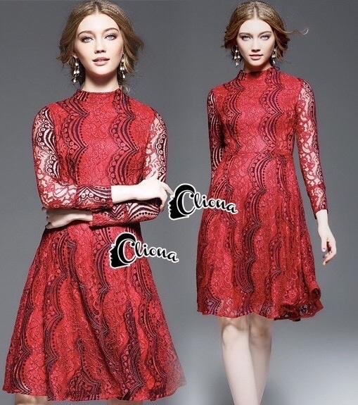 Cliona made'Red Sky 2 Tone Lace Luxury Dress - mini dress