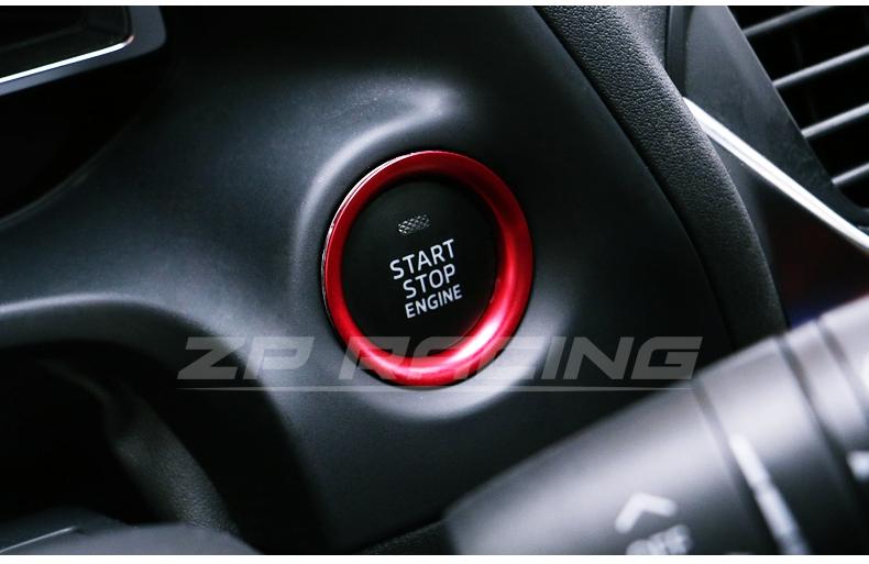 แหวนครอบปุ่ม Start Mazda 3 สีแดง
