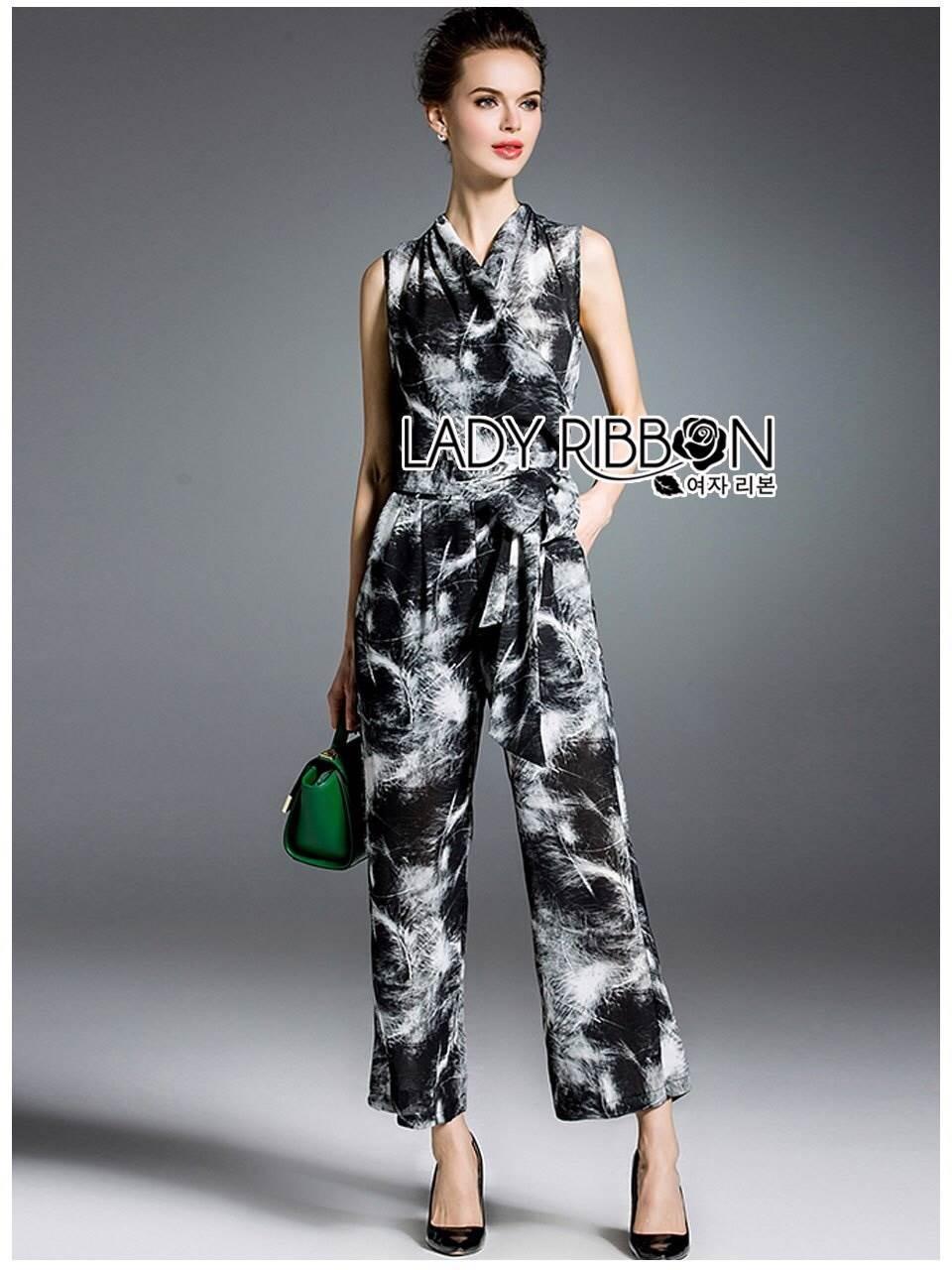 🎀 Lady Ribbon's Made 🎀Lady Matina Spotted Printed Ribbon Jumpsuit