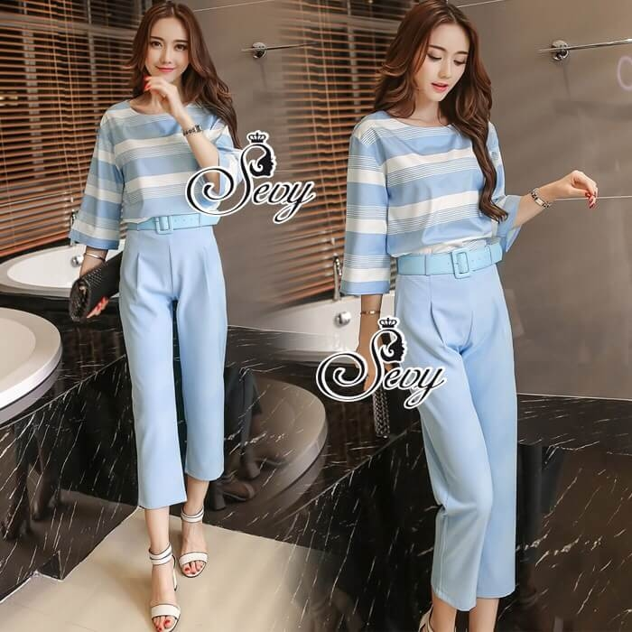 Sevy Two Pieces Of Pastel Blue Strips Blouse With Pants Sets (Belt)