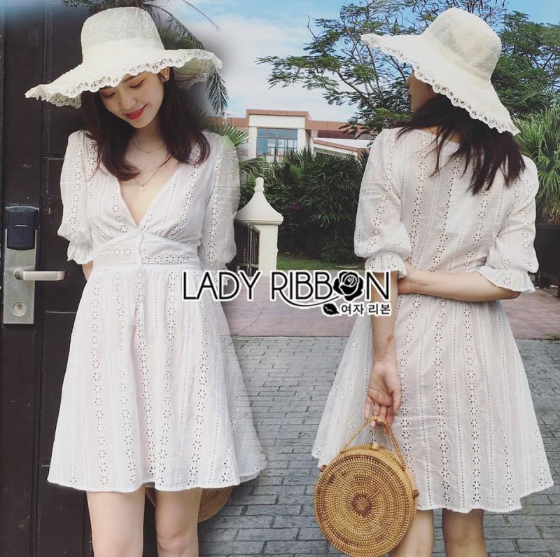 เสื้อผ้าแฟชั่นเกาหลี Lady Ribbon's Made Lady Victoria Casual Holiday White Cotton Dress