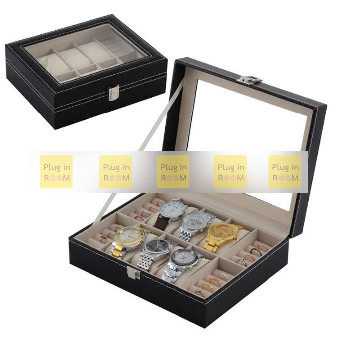 กล่องหนังเก็บนาฬิกาและแหวน 10 ช่อง