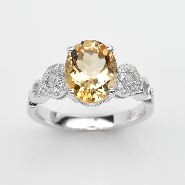 แหวนพลอยแท้ แหวนเงินแท้ 925 ชุบทองคำขาว ฝังพลอยซิทริน ประดับด้วยเพชร CZ เกรดพรีเมี่ยม