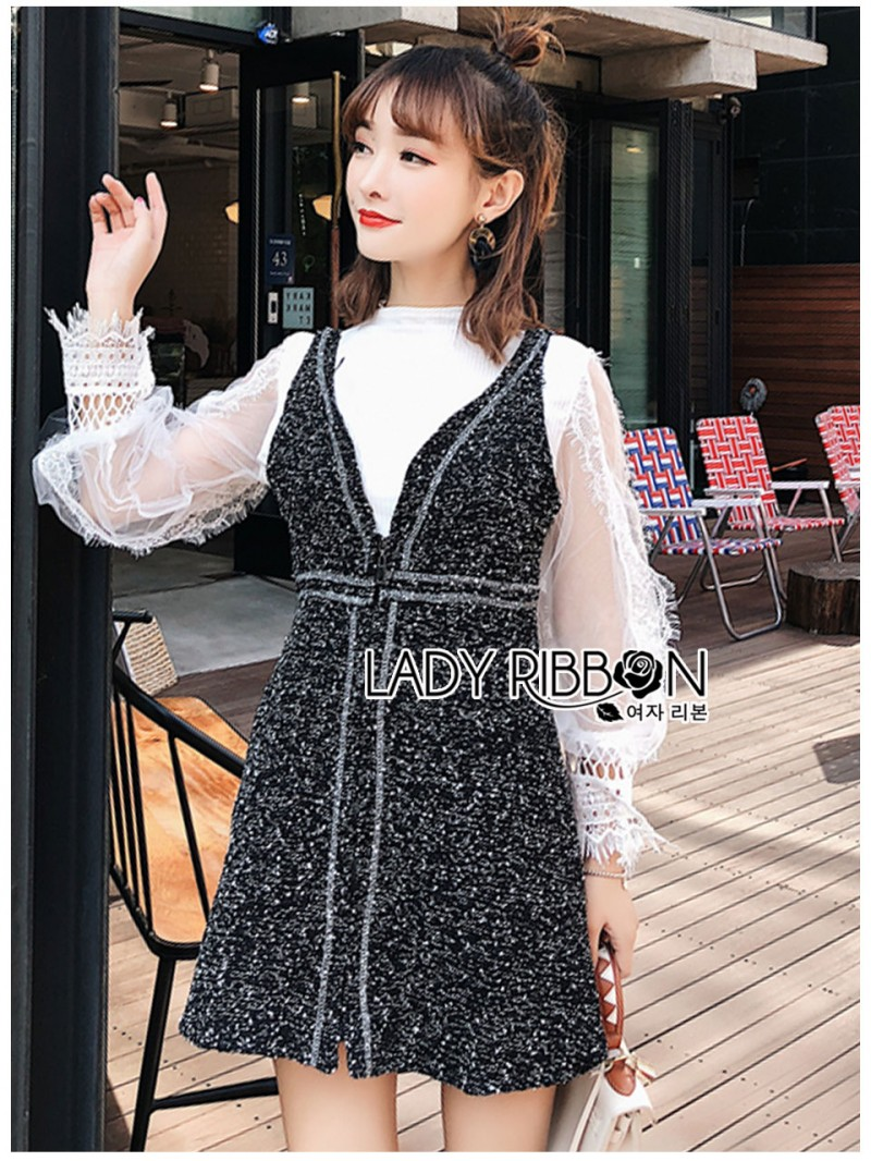 เสื้อผ้าแฟชั่นเกาหลี Lady Ribbon's Made Lady Marie Tweed Dress Over High-Neck Blouse Set
