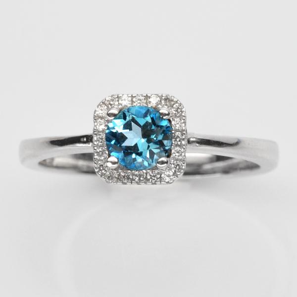แหวนพลอยแท้แหวนเงิน925 พลอย สกายบลูโทปาส ประดับเพชร CZ ชุบทองคำขาว
