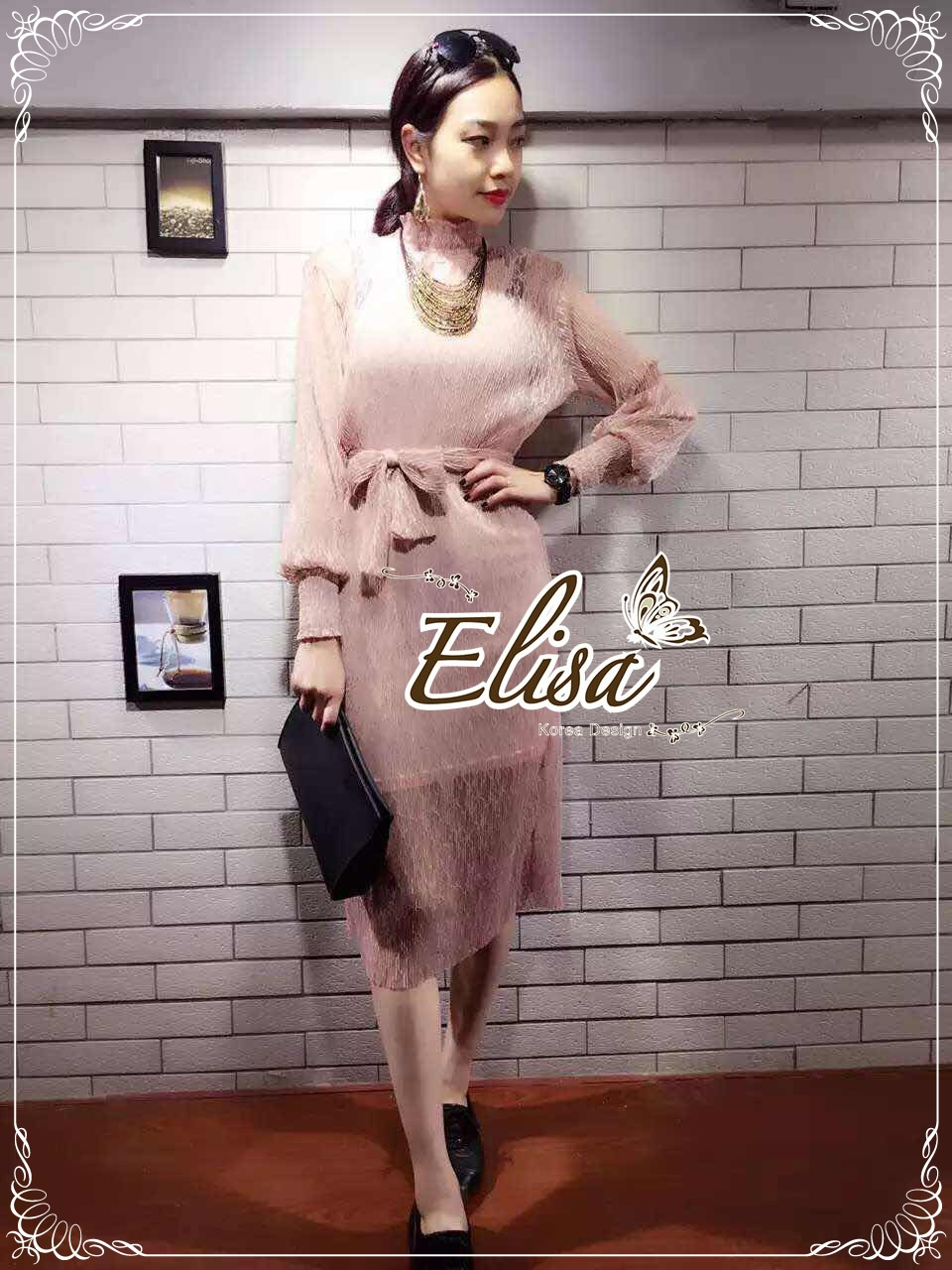 Elisa made Classy pleaty feminine see through Modern Dress