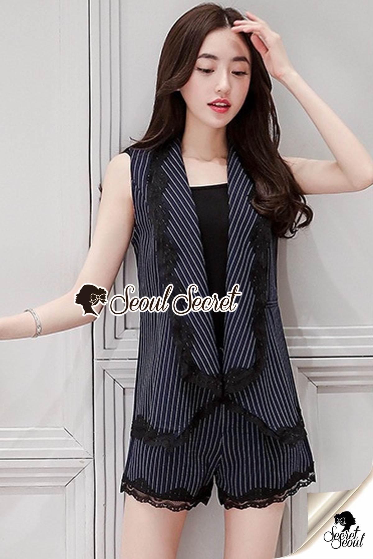 Seoul Secret Say's... Girly Stripe Lace Rim Furnished Suite Set