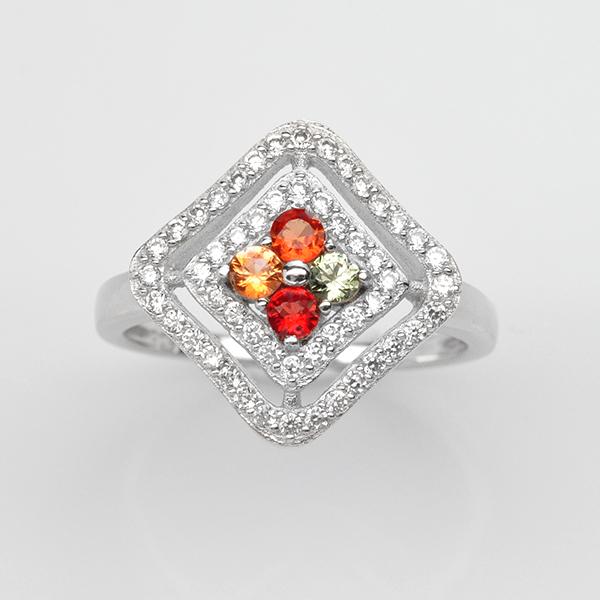 แหวนพลอยแท้ แหวนเงิน925 ชุบทองคำขาว พลอยแซฟไฟร์ ประดับเพชร CZ