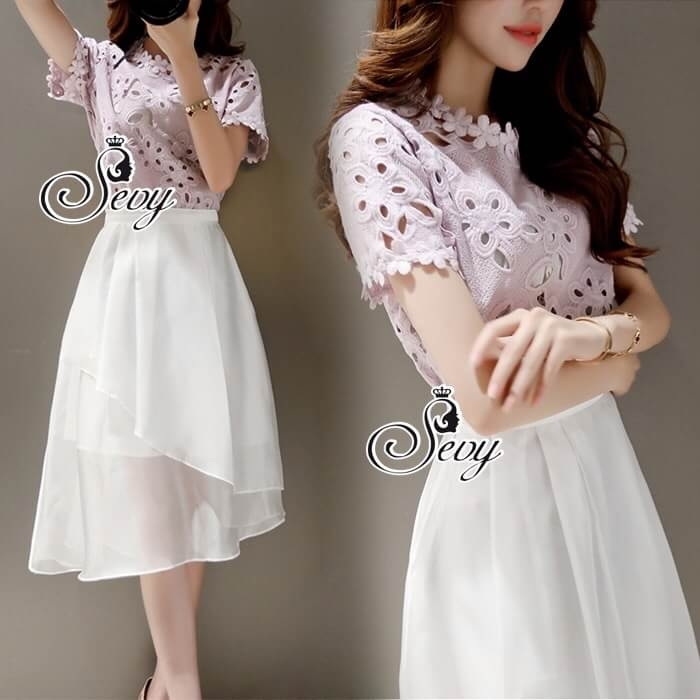 Sevy Two Pieces Of Hallow Flounce' Blouse With Chiffon Layer Skirt Sets