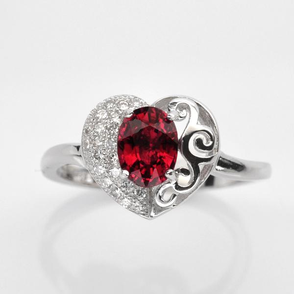 แหวนพลอยแท้ แหวนเงิน925 พลอย โกเมน ประดับเพชร CZ ชุบทองคำขาว