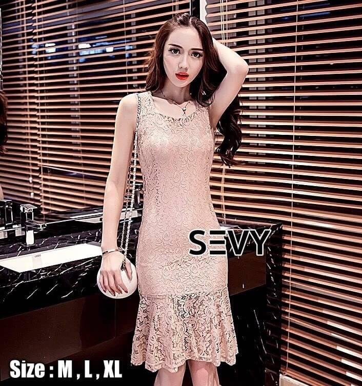 เสื้อผ้าแฟชั่นเกาหลี SEVY SHOP new dress lace Korean elegant sleeveless Slim fish tail sexy ladies temperament package hip dress skirt