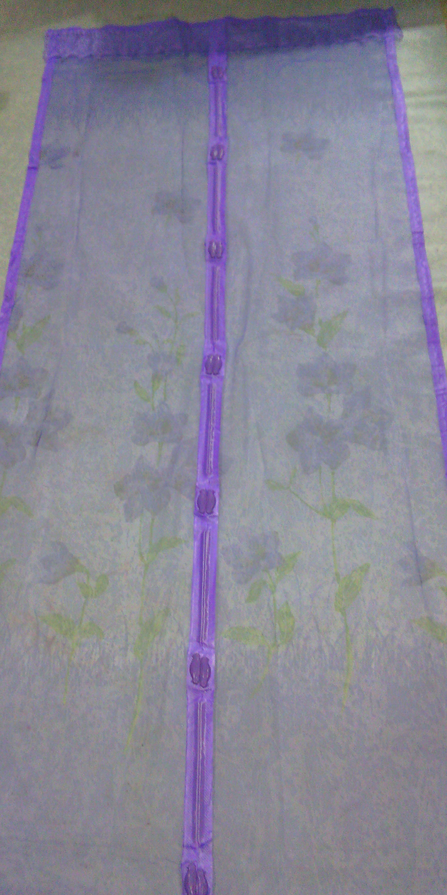 ม่านกันยุงแบบพิมพ์ลาย ไชส์ 100 สีม่วง/ทุ่งดอกไม้