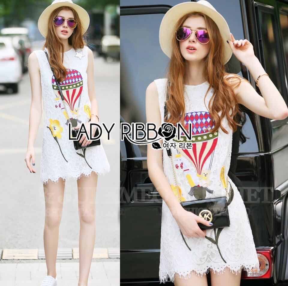 Lady Ribbon Korea Dress LR14060616 &#x1F380 Lady Ribbon's Made &#x1F380 Lady Chira Little Ballon Circus Embroidered White Lace Dress