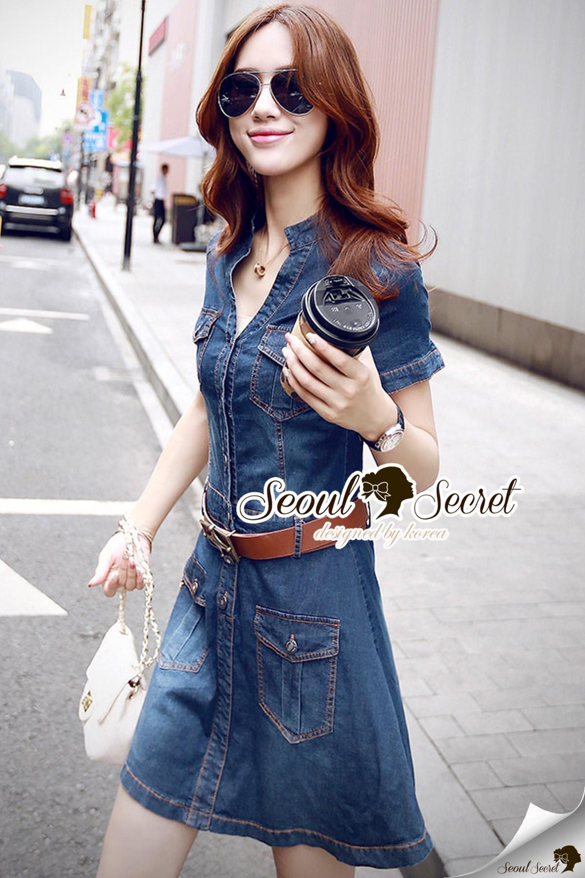 Seoul Secret Say's... Marry Smarty Denim ShirtDress