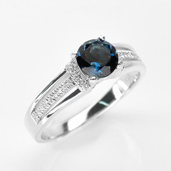 แหวนพลอยแท้ แหวนเงินแท้ 925 ฝังพลอยลอนดอนบลูโทแพซ ประดับเพชร CZ เกรดพรีเมี่ยม