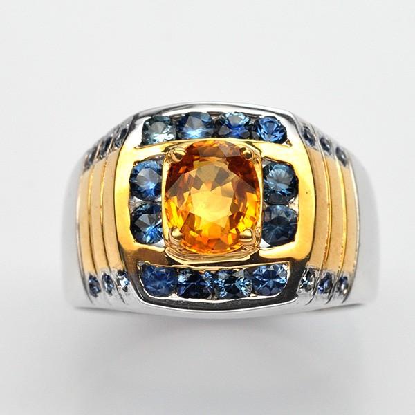แหวนพลอยแท้ แหวนเงิน925 พลอย บุษราคัม ตัวเรือน ชุบสองกษัตร ทองคำขาว-ทองคำ