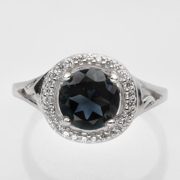 แหวนพลอยแท้ แหวนเงินแท้925 ฝังพลอยลอนดอนบลูโทปาส ล้อมเพชร CZ เกรดพรีเมี่ยม