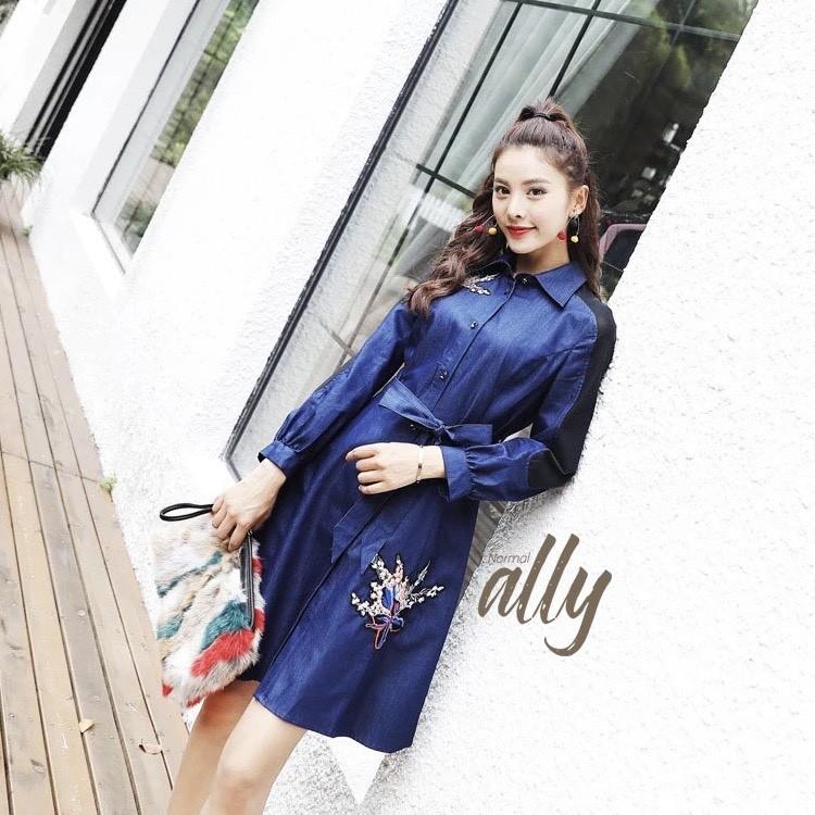 เสื้อผ้าแฟชั่นเกาหลี Lady Ribbon Thailand Normal Ally Present Embroidered and Boutique Denim dress
