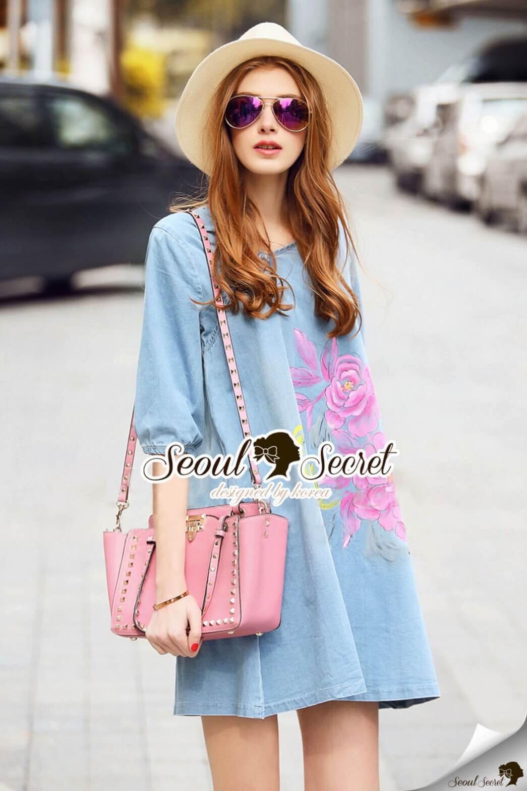 Seoul Secret Say's... Pastel Fink Paint Denim Dress