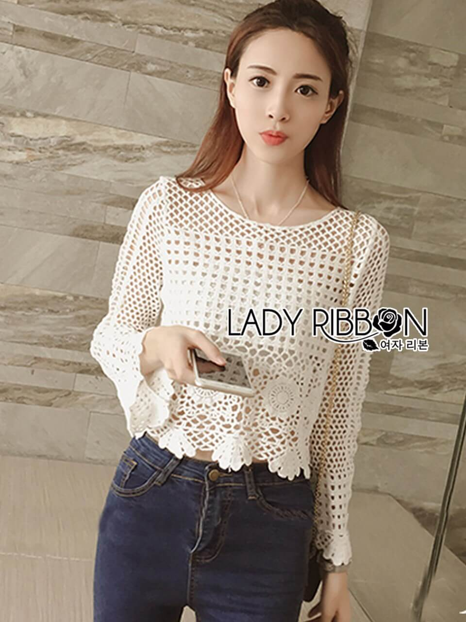 &#x1F380 Lady Ribbon's Made &#x1F380 Lady Catherine Everyday Basic Vintage Crochet Blouse