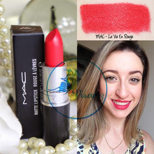 MAC Matte Rouge A Levres Lipstick 3g # La Vie En Rouge (ขนาดปกติ)