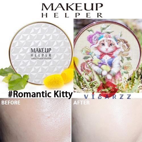 (#22 ตลับลาย Romantic Kitty) Makeup Helper Double Cushion Calendula Blossom SPF50+ /PA+++ คูชั่น แป้งน้ำลุ๊คฉ่ำสาวเกาหลีค่ะ ไม่เหนอะ ไม่มันไม่เยิ้ม ทาปุ๊ปแห้งปั๊ป โดยไม่ต้องเติมแป้ง ปกปิดได้อย่างดีแม้แผลเป็นที่ชัดมากๆ ไม่อุดตัน มาพร้อมกันแดด 50เท่า ตลับให