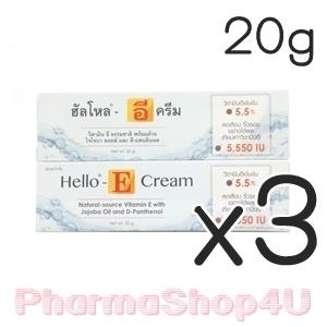 (ซื้อ3 ราคาพิเศษ) Hello-E Cream 20 กรัม วิตามินอี ธรรมชาติ พร้อมด้วยโจโจบา ออยล์ และ ดี-แพนธินอล ช่วยปรับและฟื้นฟูสภาพของเซลล์ผิวหนัง