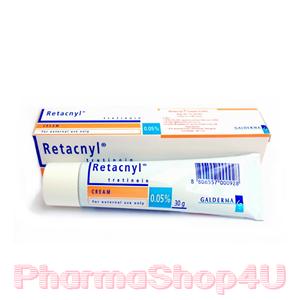 Retacnyl Cream Tretinoin 0.05% 30G รีแทคนิล ครีม รักษาสิว ช่วยผลัดเซลล์ผิว พร้อมเพิ่มความชุ่มชื้นด้วย สคอวรีน กรีเซอรีน