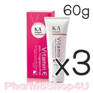 (ซื้อ3 ราคาพิเศษ) KA Cream 60g ครีมบำรุงผิวที่มีส่วนผสมของ Vitamin E เข้มข้น ปราศจากการแต่งสี แต่งกลิ่น ลดเลือนริ้วรอย จุดด่างดำ และรอยแผลเป็น