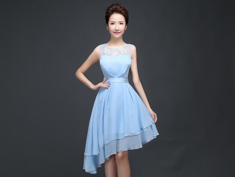 ชุดราตรีสั้น สีฟ้า ผ้าชีฟอง แขนกุด สวยหรู ดูดี ใส่ไปงานแต่งงาน งานเลี้ยง งานบายเนียร์