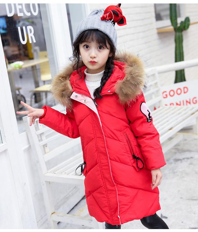 C119-49 เสื้อโค้ทกันหนาวตัวยาว สีแดงสวย งานปักอย่างดี ผ้าบุนวมมีซับในทั้งตัว มีฮูทกันลม ซิปหน้ากระดุมซ่อน size 120-140