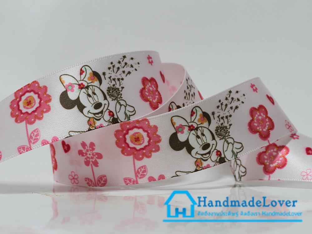 ริบบิ้นผ้า กรอสเกรน พิมพิ์ลาย Minnie Mouse มินนี่ เม้าส์ ขนาด 25 มิล