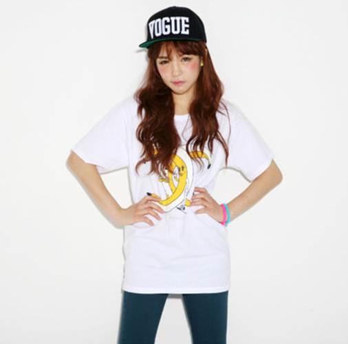 (SALE) T-shirt ลายกล้วย ชาเนล สีขาว