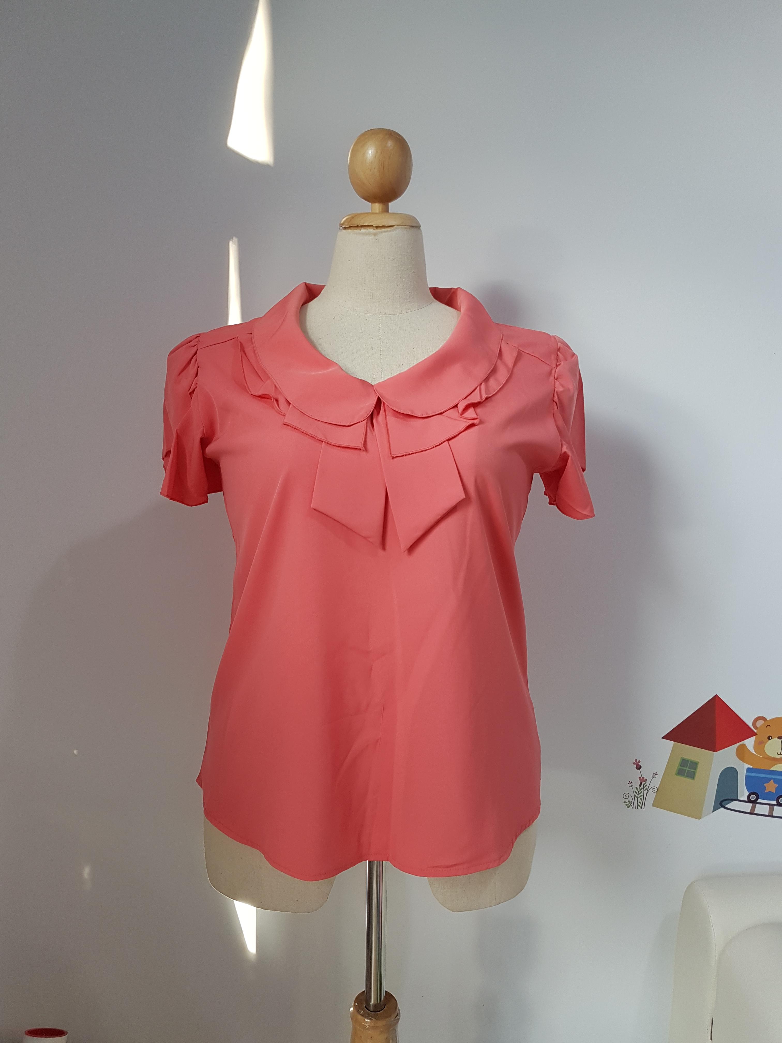 เสื้อ ผ้าไหมอิตาลี คอปกบัวซ้อน สีแตงโม ไซส์ XL อก 44 นิ้ว