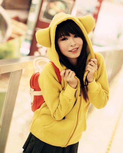 Pre-เสื้อกันหนาวฮู้ดหูหมี สีเหลือง