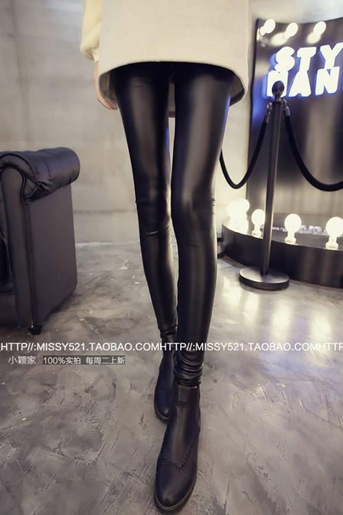 กางเกงเลกกิ้ง ขายาว ผ้าหนัง PU บุผ้าสำลีกันหนาว สีดำ