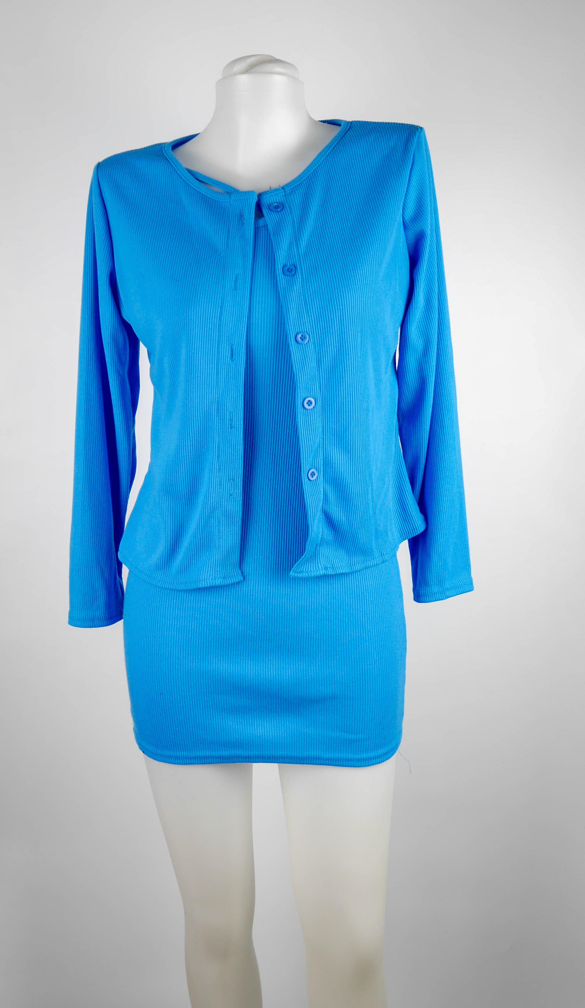 ชุด 2 ชิ้น เดรสสายเดี่ยว + เสื้อคลุม สีฟ้า
