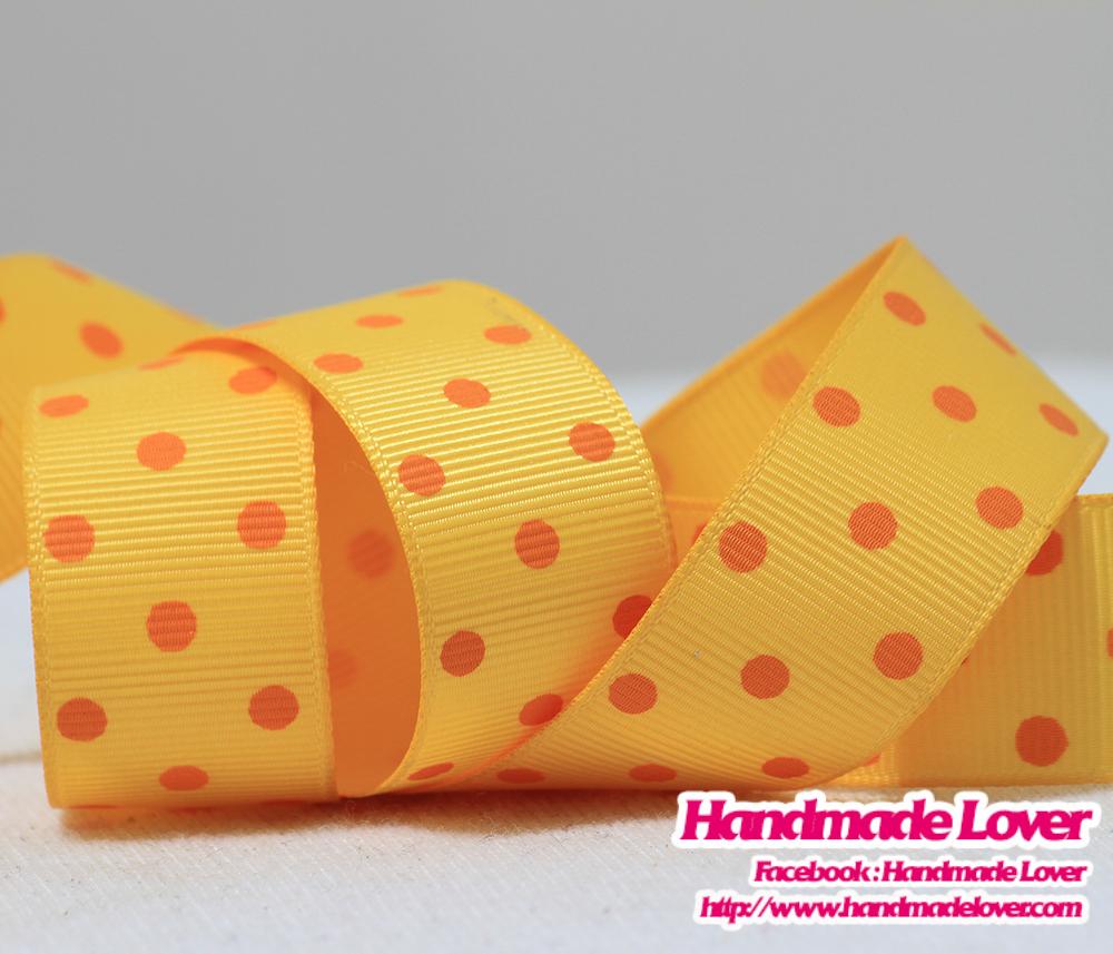 ริบบิ้นผ้าสีเหลือง พิมพ์ลายจุด